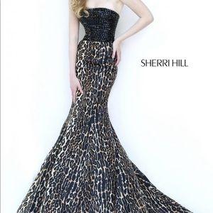 SHERRI HILL prom mermaid cheetah dress